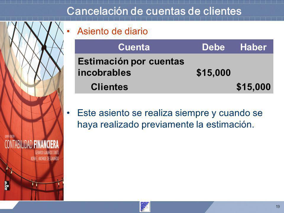 19 Cancelación de cuentas de clientes Asiento de diario Este asiento se realiza siempre y cuando se haya realizado previamente la estimación. CuentaDe