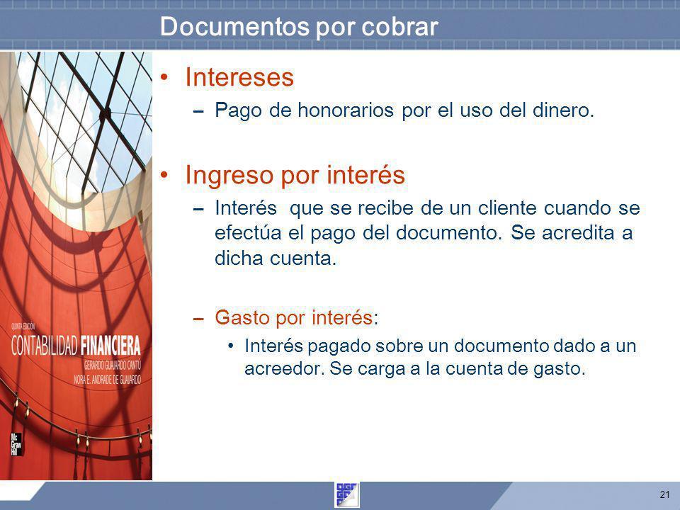 21 Documentos por cobrar Intereses –Pago de honorarios por el uso del dinero. Ingreso por interés –Interés que se recibe de un cliente cuando se efect