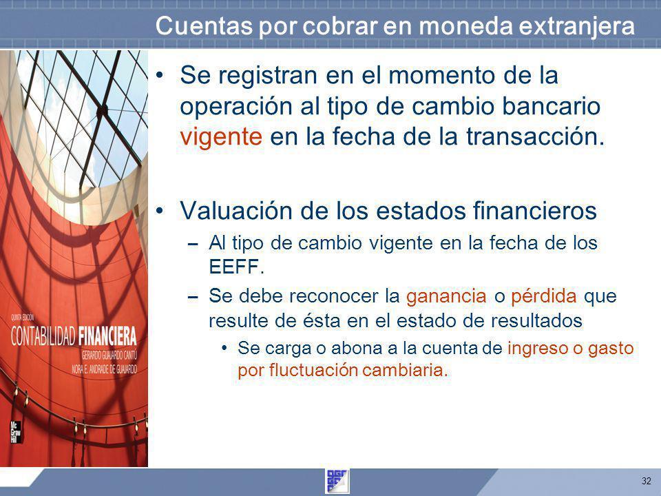 32 Cuentas por cobrar en moneda extranjera Se registran en el momento de la operación al tipo de cambio bancario vigente en la fecha de la transacción