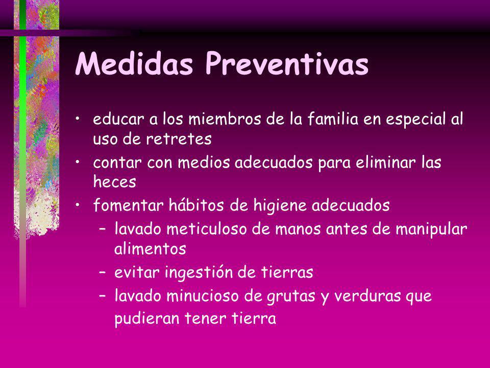 Medidas Preventivas educar a los miembros de la familia en especial al uso de retretes contar con medios adecuados para eliminar las heces fomentar há