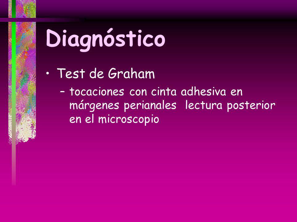 Diagnóstico Test de Graham –tocaciones con cinta adhesiva en márgenes perianales lectura posterior en el microscopio