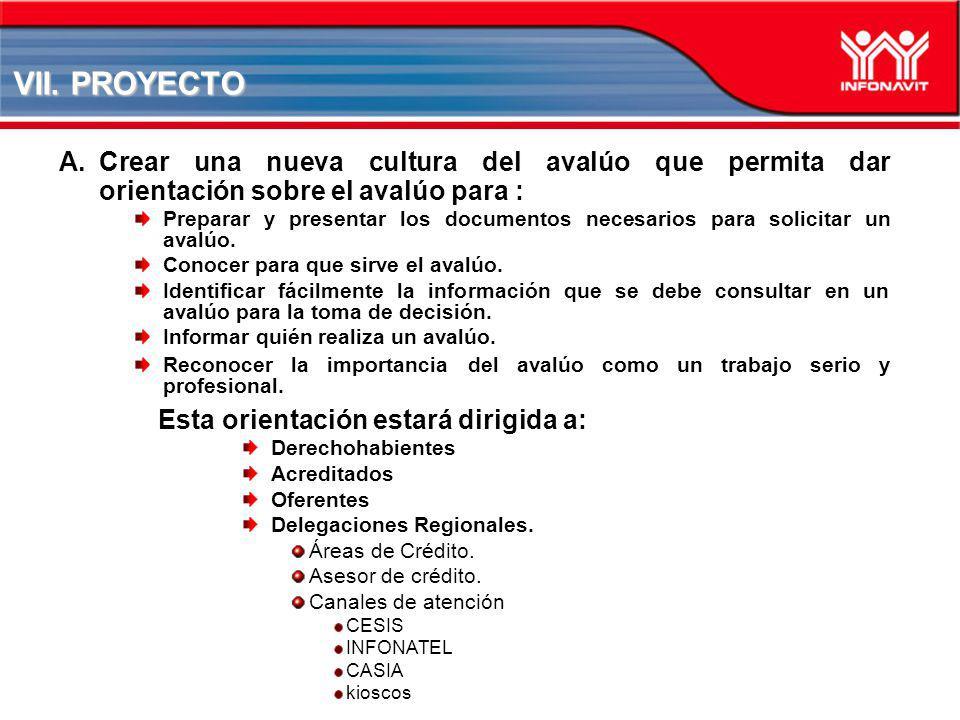 VII. PROYECTO A.Crear una nueva cultura del avalúo que permita dar orientación sobre el avalúo para : Preparar y presentar los documentos necesarios p
