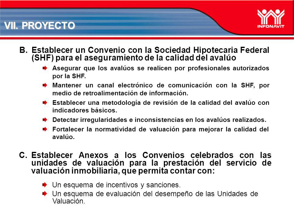 VII. PROYECTO B.Establecer un Convenio con la Sociedad Hipotecaria Federal (SHF) para el aseguramiento de la calidad del avalúo Asegurar que los avalú