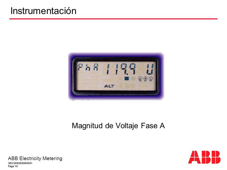 3BUSXXXXXXR0001 Page 10 ABB Electricity Metering Instrumentación Magnitud de Voltaje Fase A