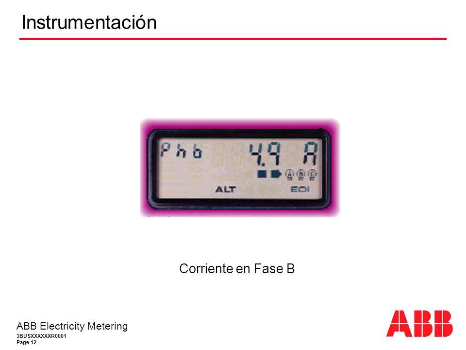 3BUSXXXXXXR0001 Page 12 ABB Electricity Metering Instrumentación Corriente en Fase B