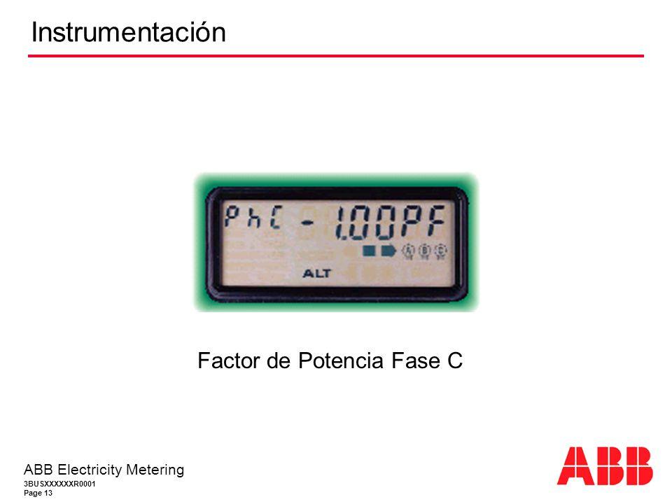 3BUSXXXXXXR0001 Page 13 ABB Electricity Metering Instrumentación Factor de Potencia Fase C