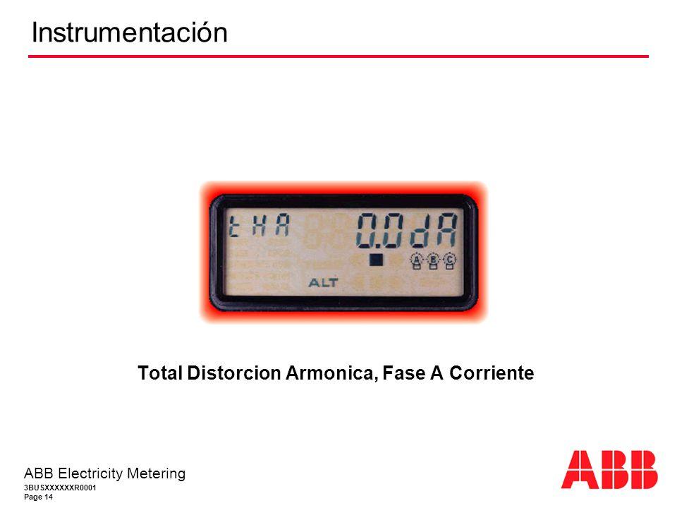 3BUSXXXXXXR0001 Page 14 ABB Electricity Metering Instrumentación Total Distorcion Armonica, Fase A Corriente