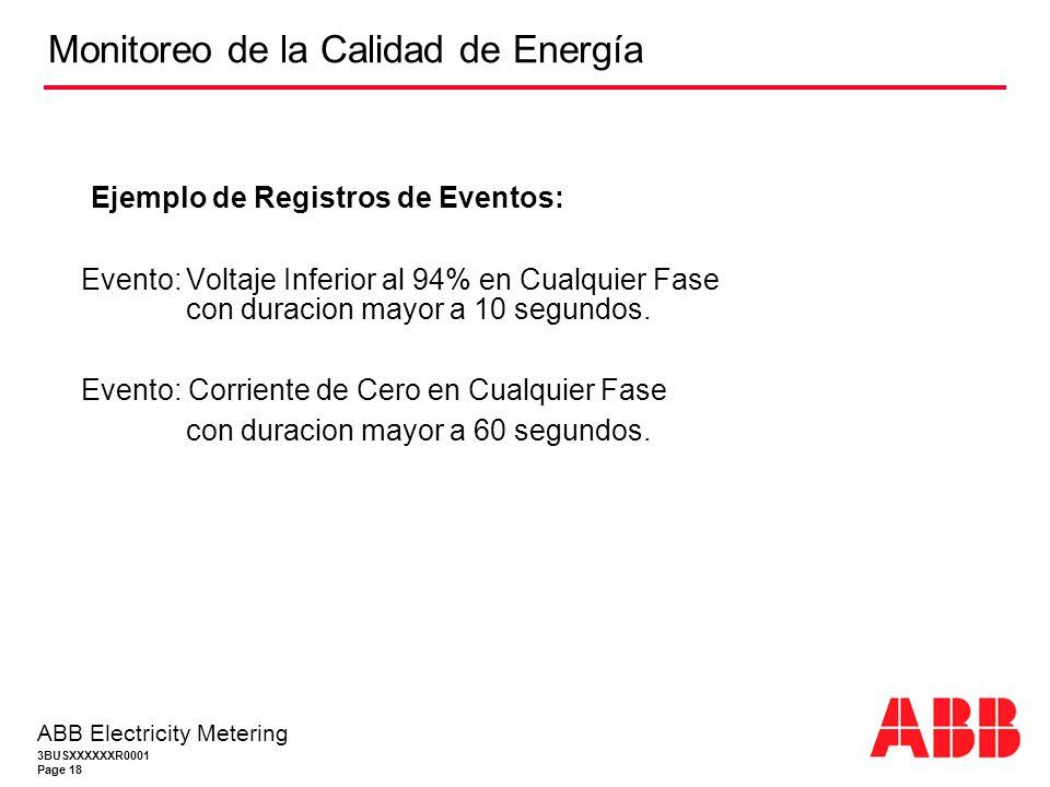3BUSXXXXXXR0001 Page 18 ABB Electricity Metering Ejemplo de Registros de Eventos: Evento:Voltaje Inferior al 94% en Cualquier Fase con duracion mayor a 10 segundos.