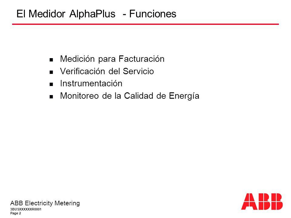3BUSXXXXXXR0001 Page 2 ABB Electricity Metering El Medidor AlphaPlus - Funciones Medición para Facturación Verificación del Servicio Instrumentación Monitoreo de la Calidad de Energía