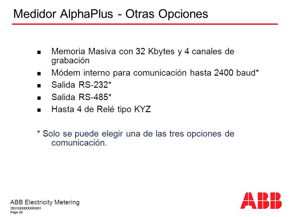 3BUSXXXXXXR0001 Page 20 ABB Electricity Metering Medidor AlphaPlus - Otras Opciones Memoria Masiva con 32 Kbytes y 4 canales de grabación Módem interno para comunicación hasta 2400 baud* Salida RS-232* Salida RS-485* Hasta 4 de Relé tipo KYZ * Solo se puede elegir una de las tres opciones de comunicación.
