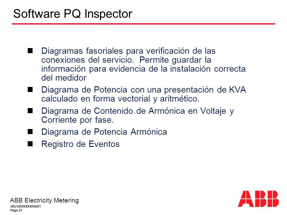 3BUSXXXXXXR0001 Page 21 ABB Electricity Metering Software PQ Inspector Diagramas fasoriales para verificación de las conexiones del servicio.