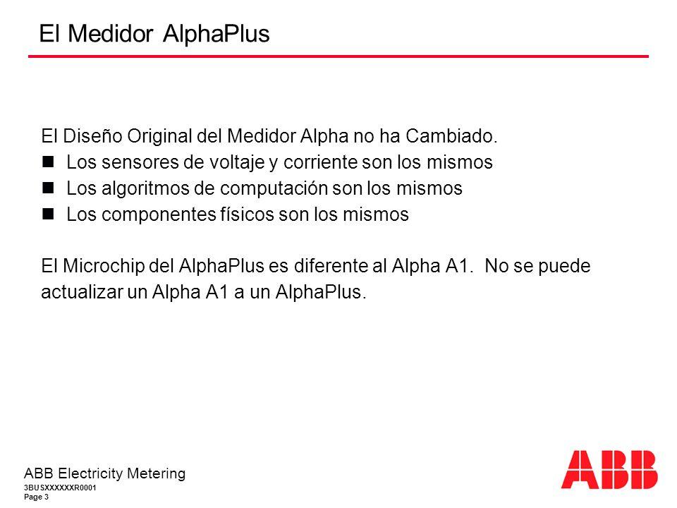 3BUSXXXXXXR0001 Page 3 ABB Electricity Metering El Medidor AlphaPlus El Diseño Original del Medidor Alpha no ha Cambiado.