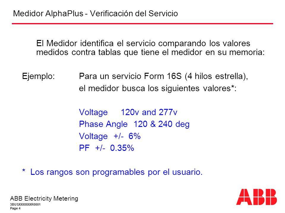 3BUSXXXXXXR0001 Page 4 ABB Electricity Metering Medidor AlphaPlus - Verificación del Servicio El Medidor identifica el servicio comparando los valores medidos contra tablas que tiene el medidor en su memoria: Ejemplo: Para un servicio Form 16S (4 hilos estrella), el medidor busca los siguientes valores*: Voltage 120v and 277v Phase Angle 120 & 240 deg Voltage +/- 6% PF +/- 0.35% * Los rangos son programables por el usuario.