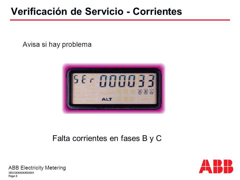 3BUSXXXXXXR0001 Page 8 ABB Electricity Metering Avisa si hay problema Verificación de Servicio - Corrientes Falta corrientes en fases B y C