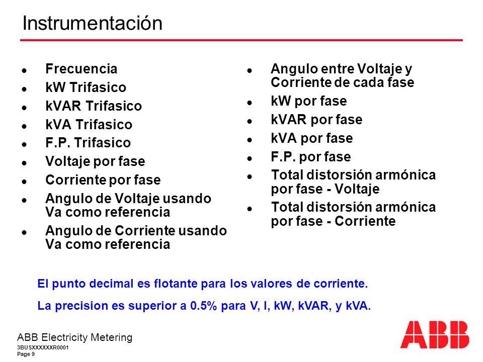 3BUSXXXXXXR0001 Page 9 ABB Electricity Metering Instrumentación Frecuencia kW Trifasico kVAR Trifasico kVA Trifasico F.P.