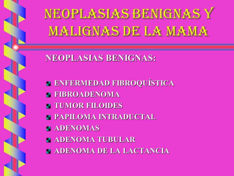 NEOPLASIAS BENIGNAS Y MALIGNAS DE LA MAMA NEOPLASIAS BENIGNAS: ENFERMEDAD FIBROQUÍSTICA FIBROADENOMA TUMOR FILOIDES PAPILOMA INTRADUCTAL ADENOMAS ADEN
