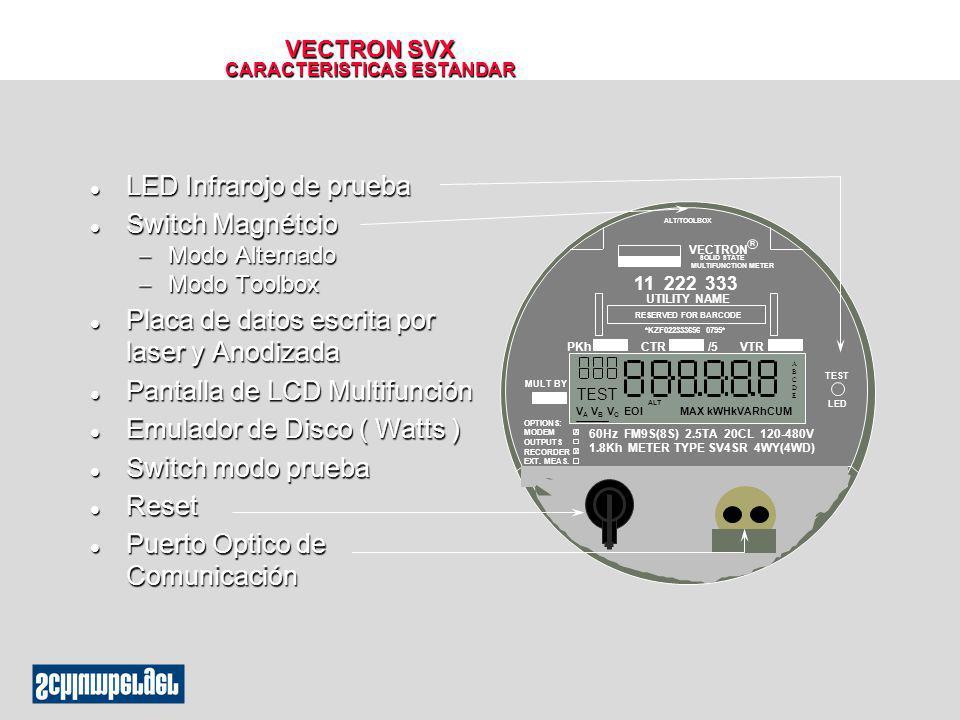 VECTRON SVX CARACTERISTICAS ESTANDAR l LED Infrarojo de prueba l Switch Magnétcio Modo Alternado Modo Alternado Modo Toolbox Modo Toolbox l Placa de d
