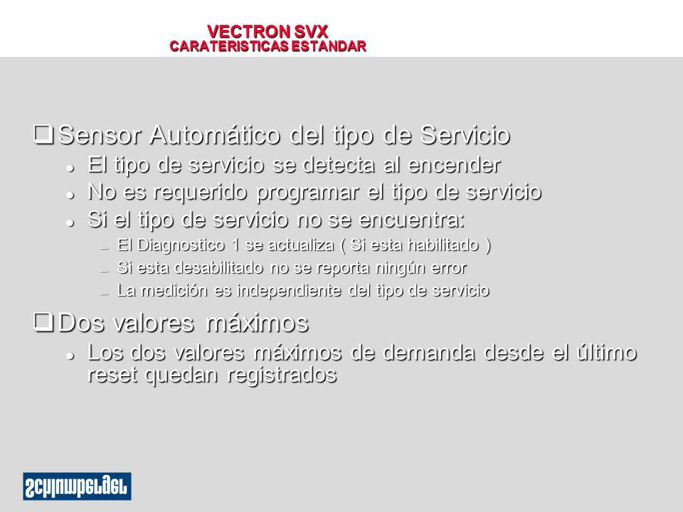 VECTRON SVX CARATERISTICAS ESTANDAR qSensor Automático del tipo de Servicio l El tipo de servicio se detecta al encender l No es requerido programar e