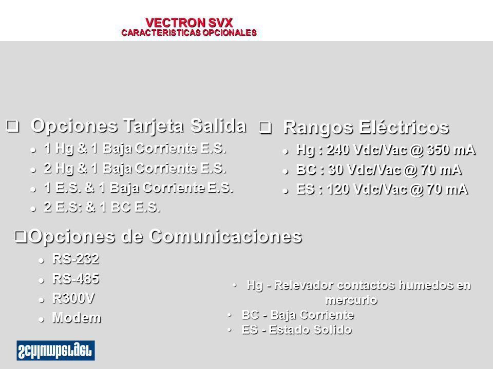 VECTRON SVX CARACTERISTICAS OPCIONALES q Opciones Tarjeta Salida l 1 Hg & 1 Baja Corriente E.S. l 2 Hg & 1 Baja Corriente E.S. l 1 E.S. & 1 Baja Corri