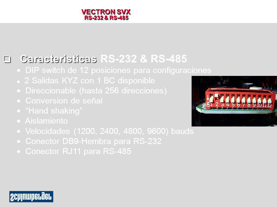 VECTRON SVX RS-232 & RS-485 q Caracteristicas q Caracteristicas RS-232 & RS-485 DIP switch de 12 posiciones para configuraciones l 2 Salidas KYZ con 1