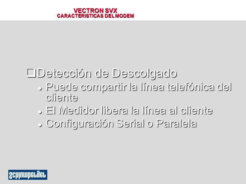 VECTRON SVX CARACTERISTICAS DEL MODEM qDetección de Descolgado l Puede compartir la línea telefónica del cliente l El Medidor libera la línea al clien