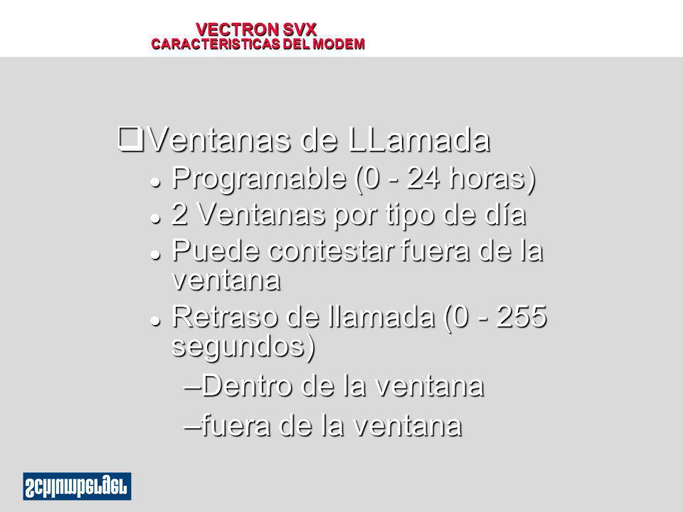 VECTRON SVX CARACTERISTICAS DEL MODEM qVentanas de LLamada l Programable (0 - 24 horas) l 2 Ventanas por tipo de día l Puede contestar fuera de la ven