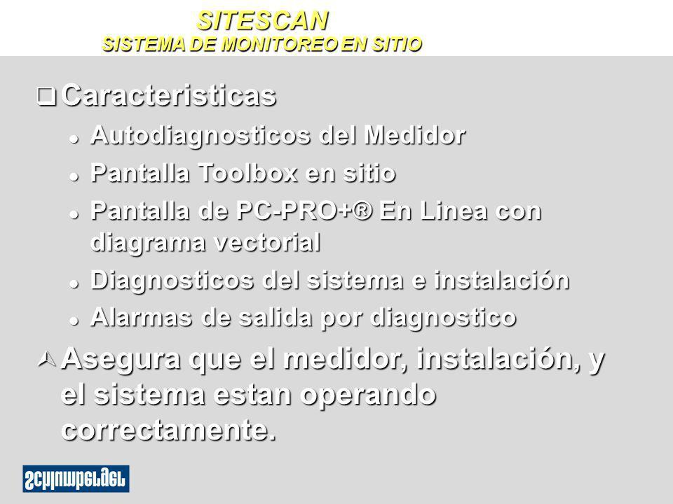 SITESCAN SISTEMA DE MONITOREO EN SITIO q Caracteristicas l Autodiagnosticos del Medidor l Pantalla Toolbox en sitio l Pantalla de PC-PRO+® En Linea co