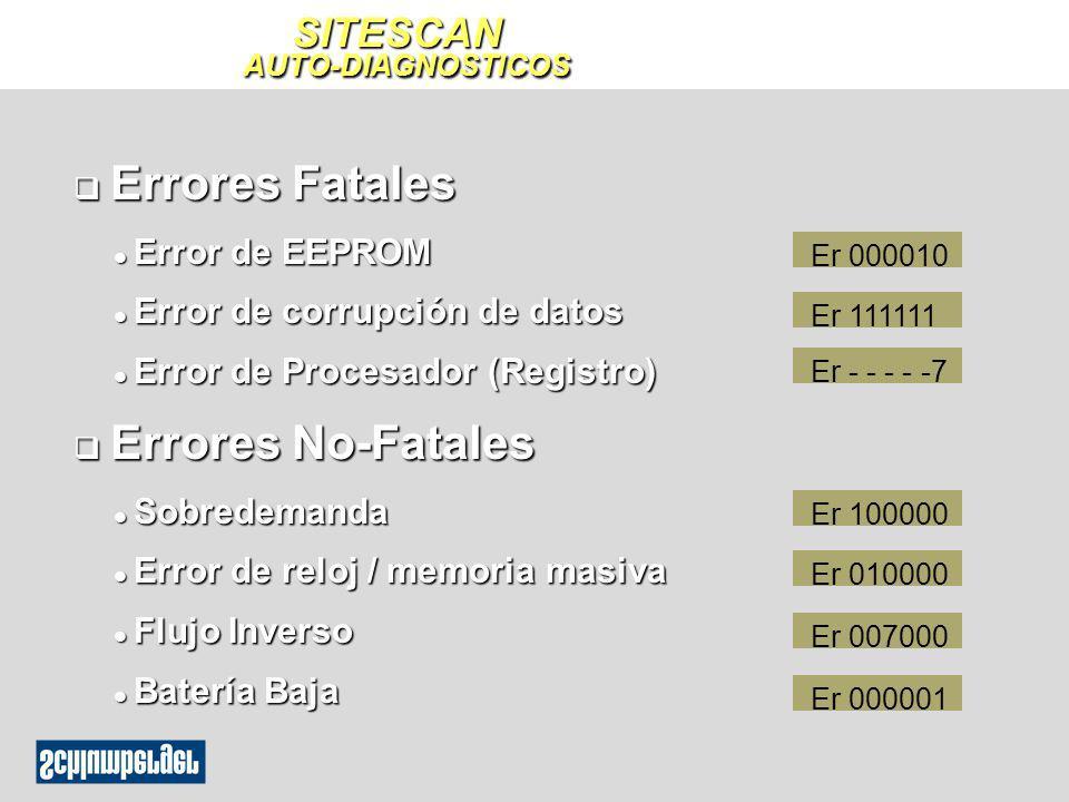 SITESCAN AUTO-DIAGNOSTICOS q Errores Fatales l Error de EEPROM l Error de corrupción de datos l Error de Procesador (Registro) q Errores No-Fatales l