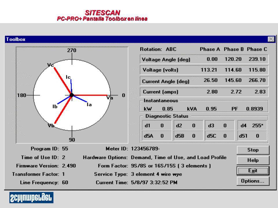 SITESCAN PC-PRO+ Pantalla Toolbox en línea