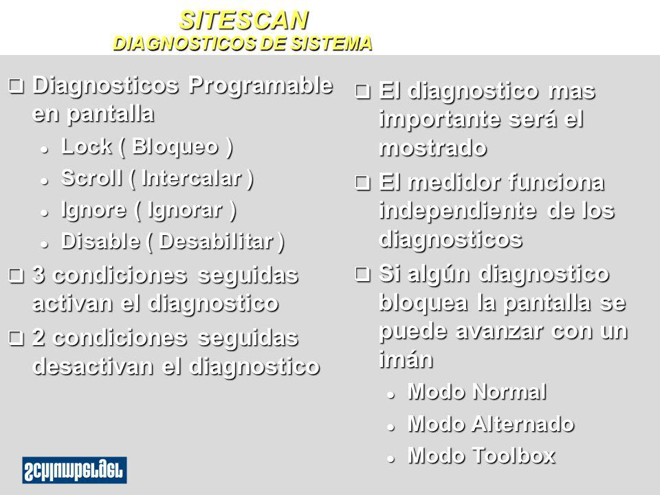 q Diagnosticos Programable en pantalla l Lock ( Bloqueo ) l Scroll ( Intercalar ) l Ignore ( Ignorar ) l Disable ( Desabilitar ) q 3 condiciones segui