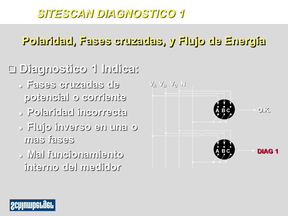 SITESCAN DIAGNOSTICO 1 q Diagnostico 1 Indica: l Fases cruzadas de potencial o corriente l Polaridad incorrecta l Flujo inverso en una o mas fases l M