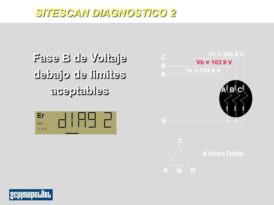 Fase B de Voltaje debajo de limites aceptables ABC C N B A Vc = 208.8 V Vb = 103.9 V Va = 124.8 V A N B C 4 hilos Delta Er TEST V A V B V C SITESCAN D