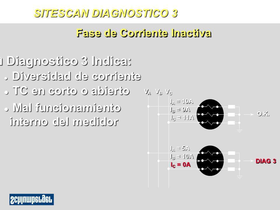 q Diagnostico 3 Indica: l Diversidad de corriente l TC en corto o abierto l Mal funcionamiento interno del medidor Fase de Corriente Inactiva O.K. VAV