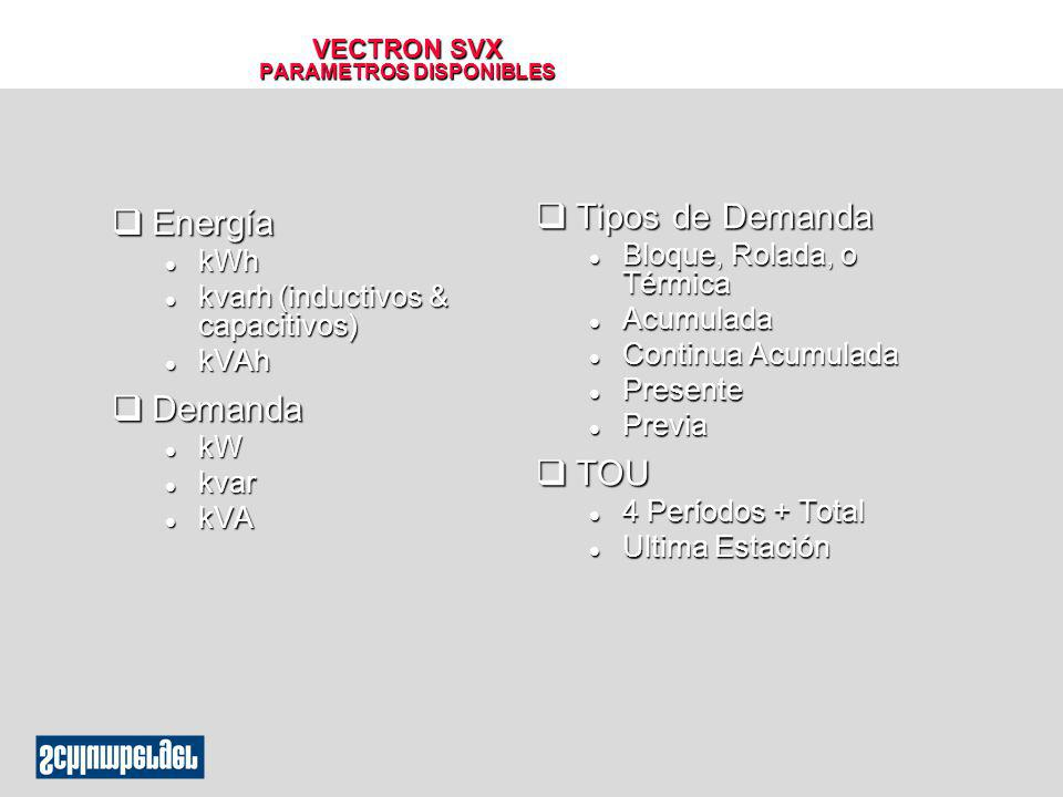 VECTRON SVX CARACTERISTICAS DEL MODEM Compartiendo la Línea Telefónica Compartiendo la Línea Telefónica l Hasta 5 medidores por línea Esclavo 1 Esclavo 2 Esclavo 4 Maestro Esclavo 3