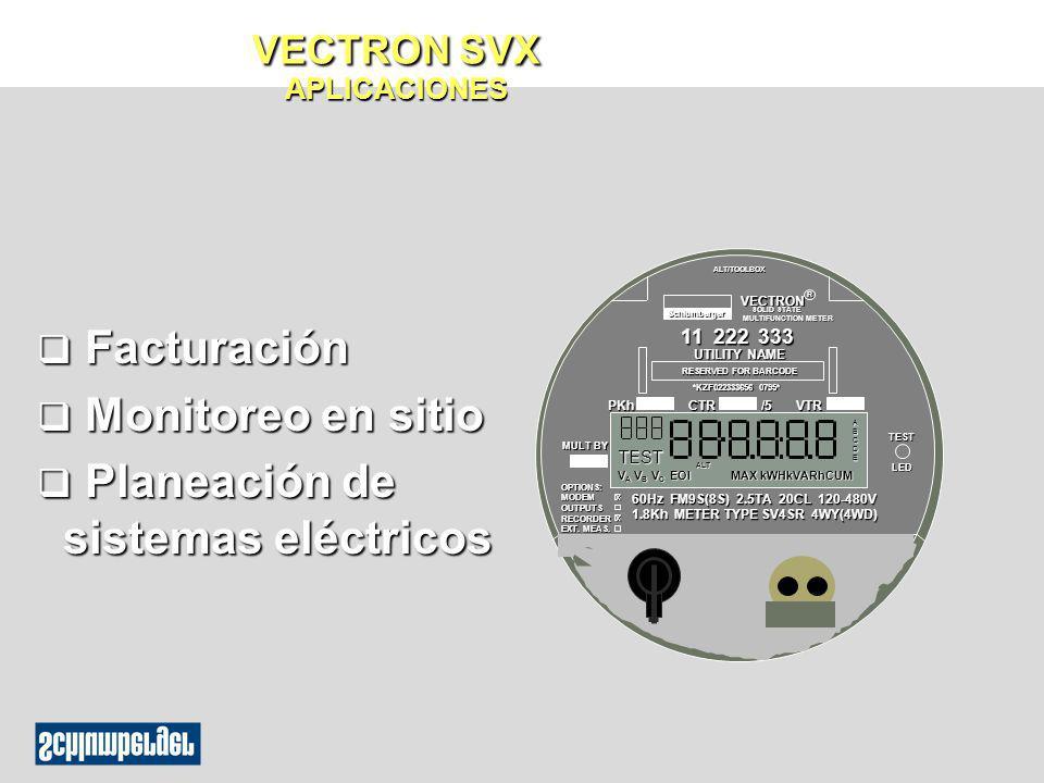q Facturación q Monitoreo en sitio q Planeación de sistemas eléctricos VECTRON SOLID STATE SOLID STATE MULTIFUNCTION METER ALT/TOOLBOX *KZF022333656 0