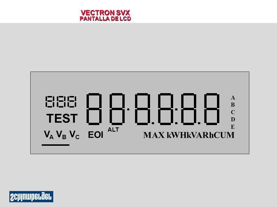 VECTRON SVX CARACTERISTICAS OPCIONALES q Salidas Programables l KYZ l Umbrales de Demanda l Fin de Intervalo l Salidas Independientes (TOU) l Avisos al Usuario (TOU) l Salidas de Diagnostico del SITESCAN Tarjeta Electrónica Registro Fuente de Poder Sensores de Potencial Sensores de corriente Tarjeta de Com.