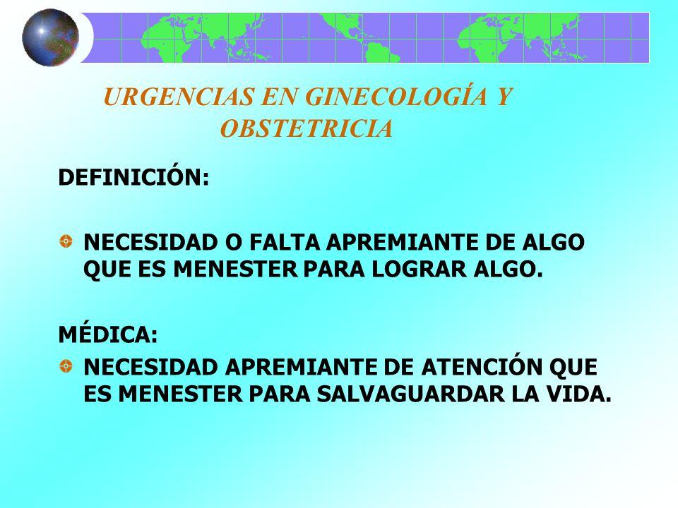 URGENCIAS EN GINECOLOGÍA Y OBSTETRICIA GINECOLOGÍA: INMEDIATASMETRORRAGIA MEDIATASINFECCIONES HABITUALESVAGINITIS