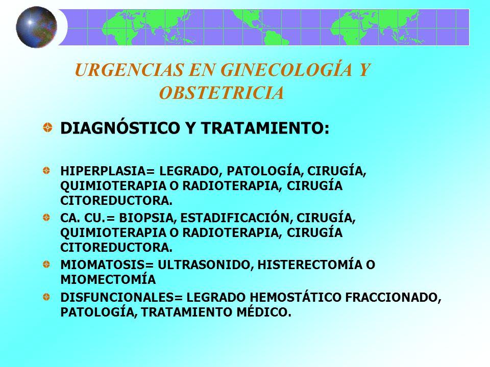 URGENCIAS EN GINECOLOGÍA Y OBSTETRICIA DIAGNÓSTICO Y TRATAMIENTO: HIPERPLASIA= LEGRADO, PATOLOGÍA, CIRUGÍA, QUIMIOTERAPIA O RADIOTERAPIA, CIRUGÍA CITO