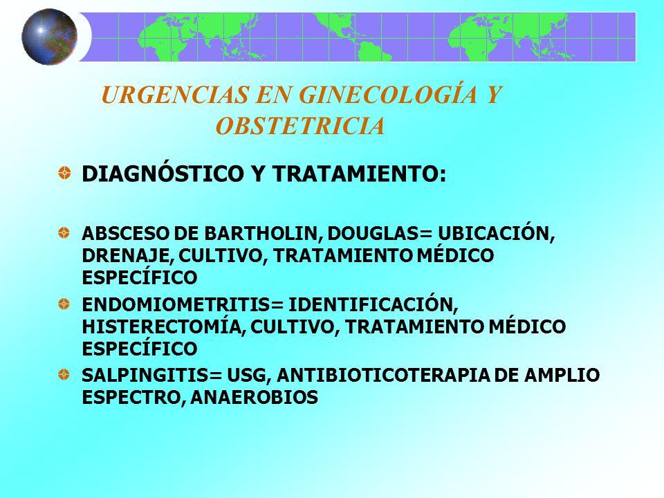 URGENCIAS EN GINECOLOGÍA Y OBSTETRICIA DIAGNÓSTICO Y TRATAMIENTO: ABSCESO DE BARTHOLIN, DOUGLAS= UBICACIÓN, DRENAJE, CULTIVO, TRATAMIENTO MÉDICO ESPEC