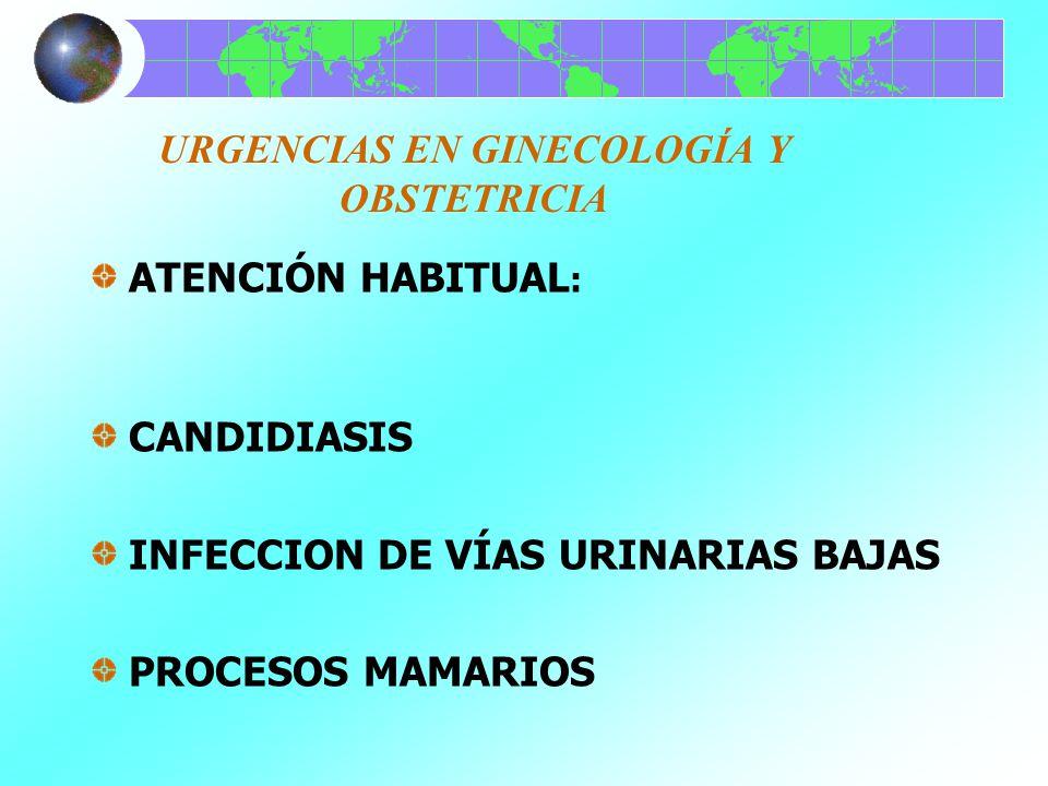 URGENCIAS EN GINECOLOGÍA Y OBSTETRICIA DIAGNÓSTICO Y TRATAMIENTO: CANDIDIASIS=CULTIVO, ANTIMICÓTICOS A LOS DOS INFECCION DE VÍAS URINARIAS BAJAS= UROCULTIVO, ANTIBIÓTICOS, ANTIESPASMÓDICOS PROCESOS MAMARIOS= IDENTIFICACIÓN, USG, MASTOGRAFÍA, ANTIINFLAMATORIOS, LOCALES