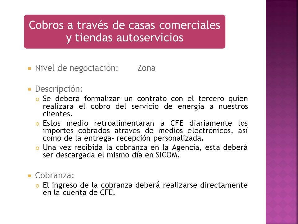 Nivel de negociación:Zona Descripción: Se deberá formalizar un contrato con el tercero quien realizara el cobro del servicio de energia a nuestros cli