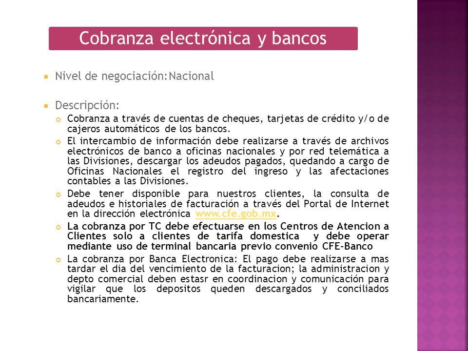 Nivel de negociación:Nacional Descripción: Cobranza a través de cuentas de cheques, tarjetas de crédito y/o de cajeros automáticos de los bancos. El i