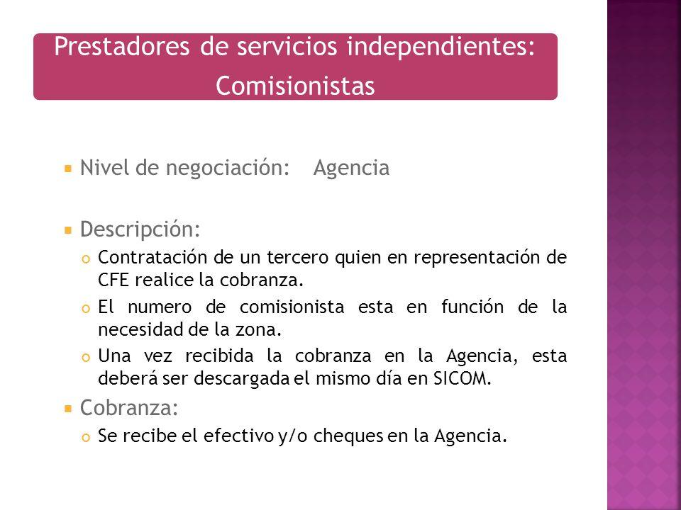 Nivel de negociación:Agencia Descripción: Contratación de un tercero quien en representación de CFE realice la cobranza. El numero de comisionista est