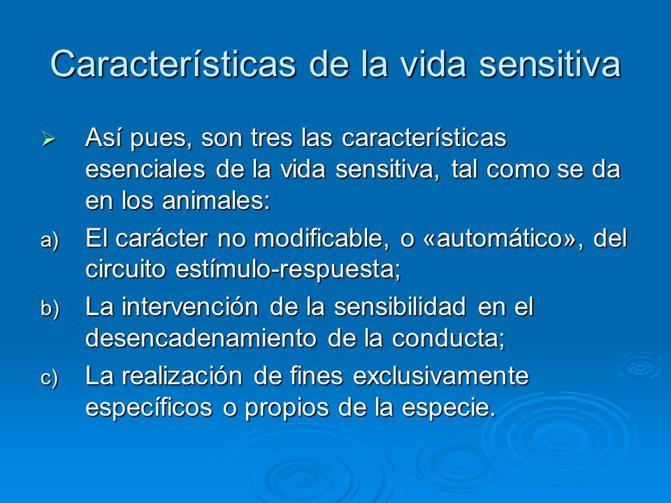 Características de la vida sensitiva Así pues, son tres las características esenciales de la vida sensitiva, tal como se da en los animales: Así pues,