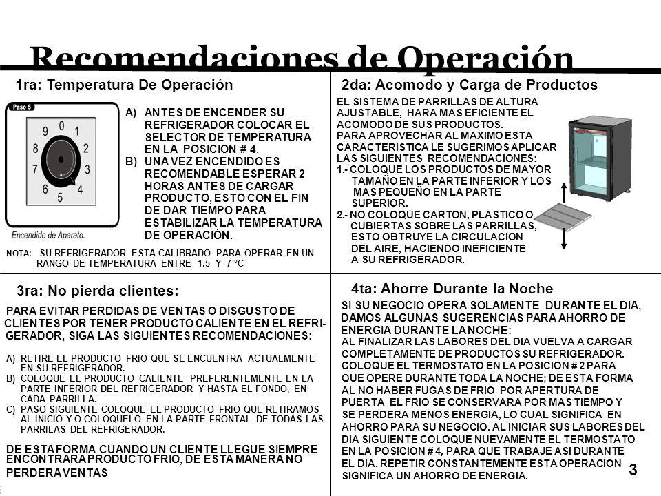 Recomendaciones de Operación A)ANTES DE ENCENDER SU REFRIGERADOR COLOCAR EL SELECTOR DE TEMPERATURA EN LA POSICION # 4.