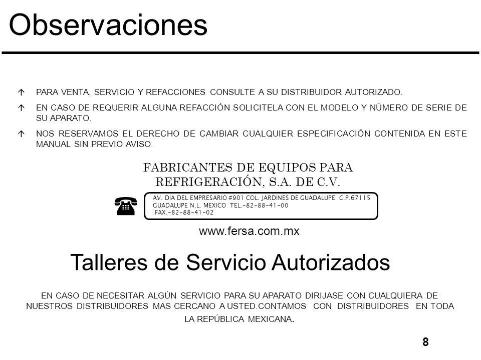 Observaciones áPARA VENTA, SERVICIO Y REFACCIONES CONSULTE A SU DISTRIBUIDOR AUTORIZADO.