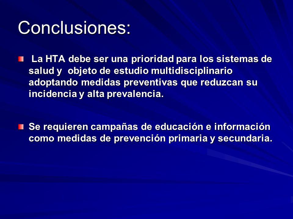 Conclusiones: La HTA debe ser una prioridad para los sistemas de salud y objeto de estudio multidisciplinario adoptando medidas preventivas que reduzc