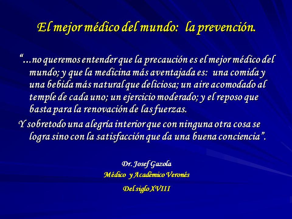 El mejor médico del mundo: la prevención....no queremos entender que la precaución es el mejor médico del mundo; y que la medicina más aventajada es: