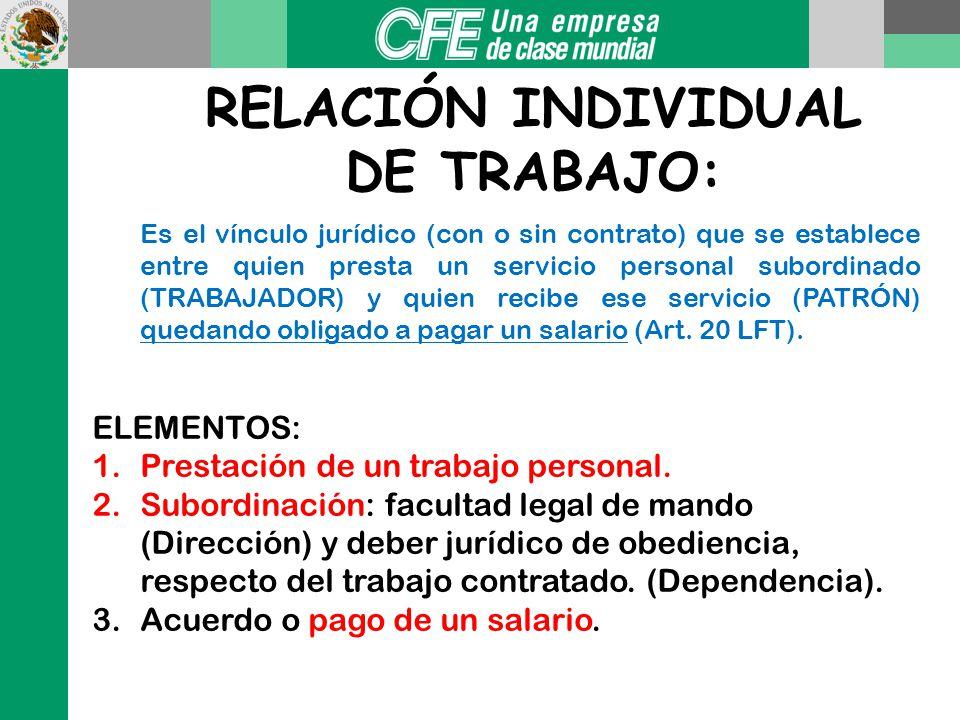 Patrón: Artículo 10 LFT Persona física o moral que utiliza los servicios de uno o varios trabajadores. Y si éstos a su vez utilizan los servicios de o
