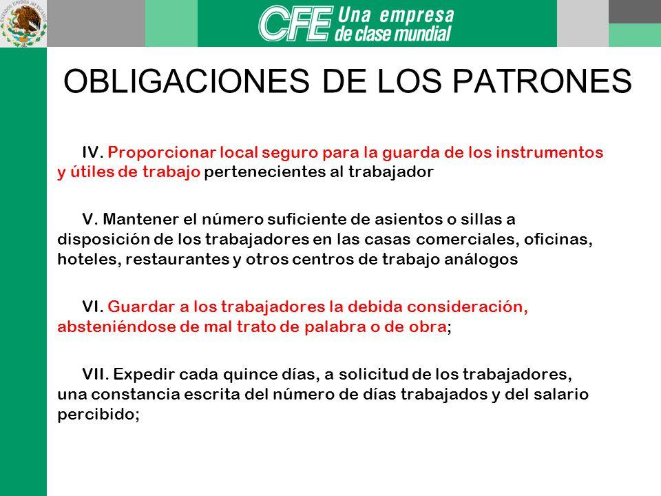 OBLIGACIONES DE LOS PATRONES*: Art. 182 I. Cumplir las disposiciones de las normas de trabajo aplicables a sus empresas o establecimientos; II. Pagar